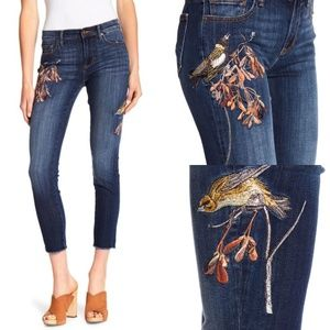 Driftwood Marilyn Bird Embroidered Cropped Jeans